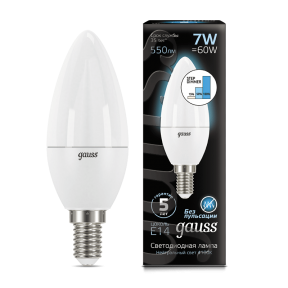Лампа Gauss LED Candle E14 7W 4100К step dimmable