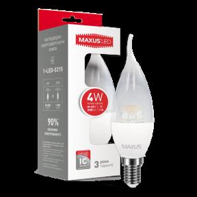 LED лампа Maxus C37 CL-T 4W тепле світло E14 (1-LED-5315)