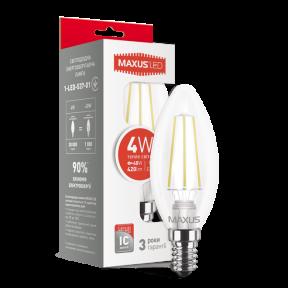 LED лампа MAXUS (filam), C37, 4W, теплый свет,E14 (1-LED-537-01)