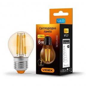 LED лампа VIDEX Filament G45FA 6W E27 2200K бронза