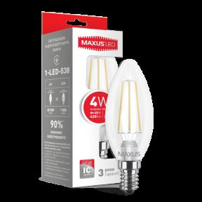 LED лампа Maxus (filament) C37 4W яскраве світло E14 (1-LED-538-01)