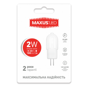 LED лампа Maxus G4 2W яскраве світло 12V AC / DC (1-LED-208)