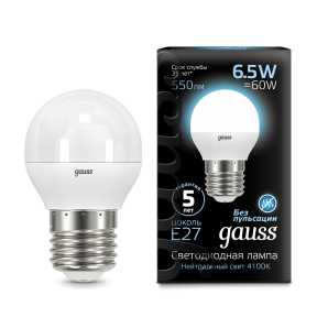 Лампа Gauss LED Globe E27 6.5W 4100K