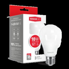 LED лампа MAXUS A60 10W тепле світло 220V E27 (1-LED-561-01) 950Lm