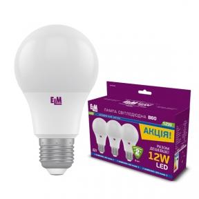 Комплект ламп світлодіодних стандартних B60 PA10S 12W E27 4000K 175-250V алюмопл. корп. 3шт. 18-0184