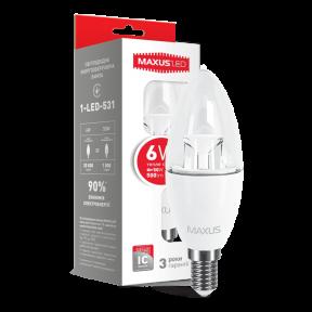 LED лампа MAXUS C37 6W теплый свет E14 (1-LED-531)