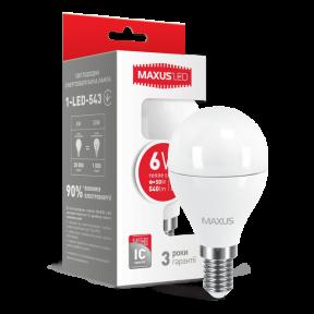 LED лампа Maxus G45 6W тепле світло E14 (1-LED-543)