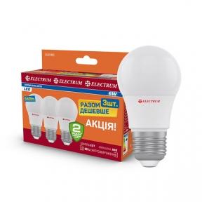 Комплект ламп світлодіодних стандартних LD-7 6W E27 4000K алюмопл. корп. 3шт. A-LD-1854