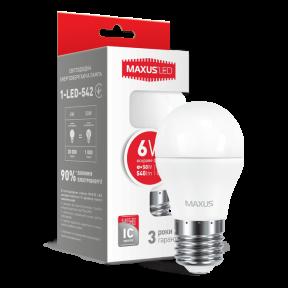 LED лампа MAXUS G45 6W яскраве світло E27 (1-LED-542) 540Lm