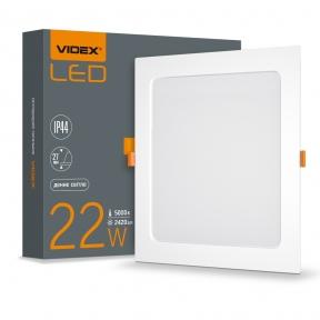 LED світильник Back вбудований квадрат VIDEX 22W 5000K