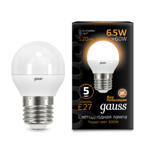 Лампа Gauss LED Globe E27 6.5W 3000K 520Лм