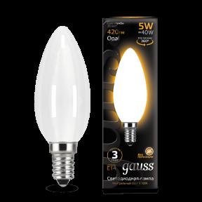 Лампа Gauss LED Filament Candle OPAL E14 5W 2700К 420Лм