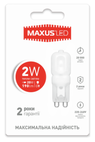LED лампа Maxus G9 2W тепле світло 220V (1-LED-201)